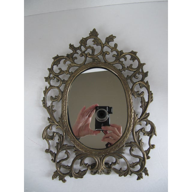 Brass Scroll Vanity Mirror For Sale - Image 4 of 6