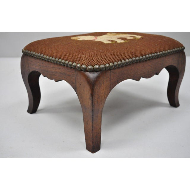 Mahogany Antique Victorian Small Puppy Dog Needlepoint Petite Stool For Sale - Image 7 of 10