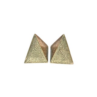 Modern Trianglar Pyramid Brass Bookends - a Pair For Sale