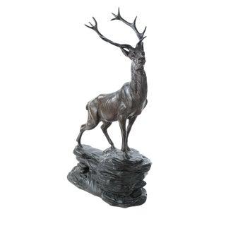 Regal Elk Cast Metal Sculpture For Sale