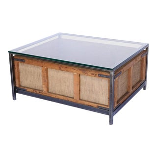 Custom Coffee Table Made From Vintage German Cigar Bin, Iron and Glass For Sale