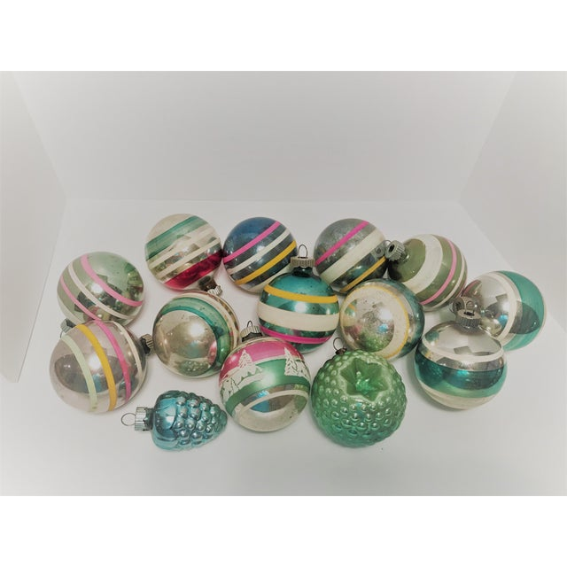Vintage 1950s Shiny Brite Glass Ornaments - Set of 14 For Sale - Image 4 of 8