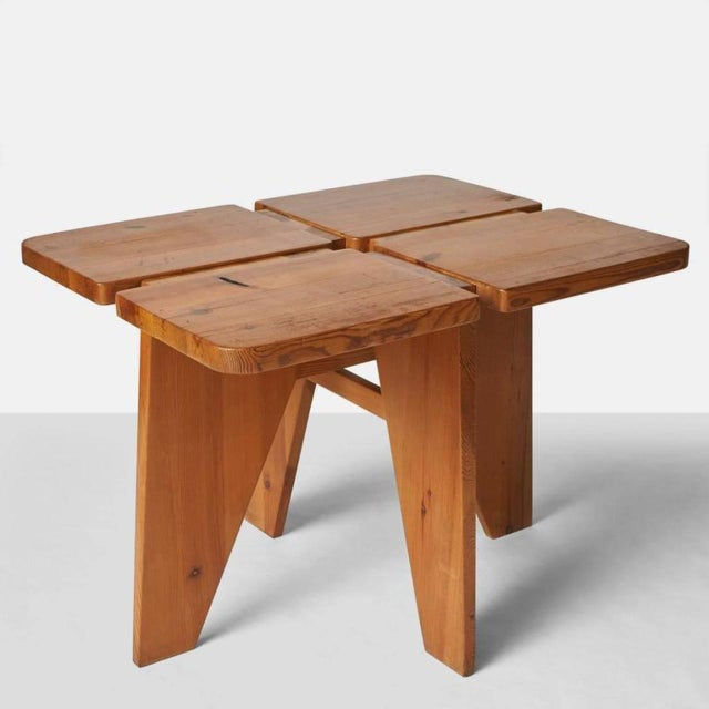 Pine 1960s Lisa Johansson Pape Dining Table and Stools - Set of 4 For Sale - Image 7 of 9
