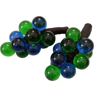 Blue & Green Lucite Grape Cluster - Pair For Sale