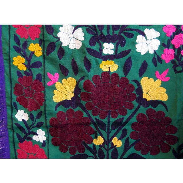Cottage Dark Green Vintage Suzani Embroidery For Sale - Image 3 of 4