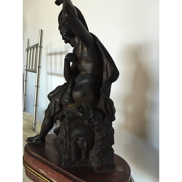 19th Century Signed Bronze Seated Man Figure For Sale - Image 4 of 10