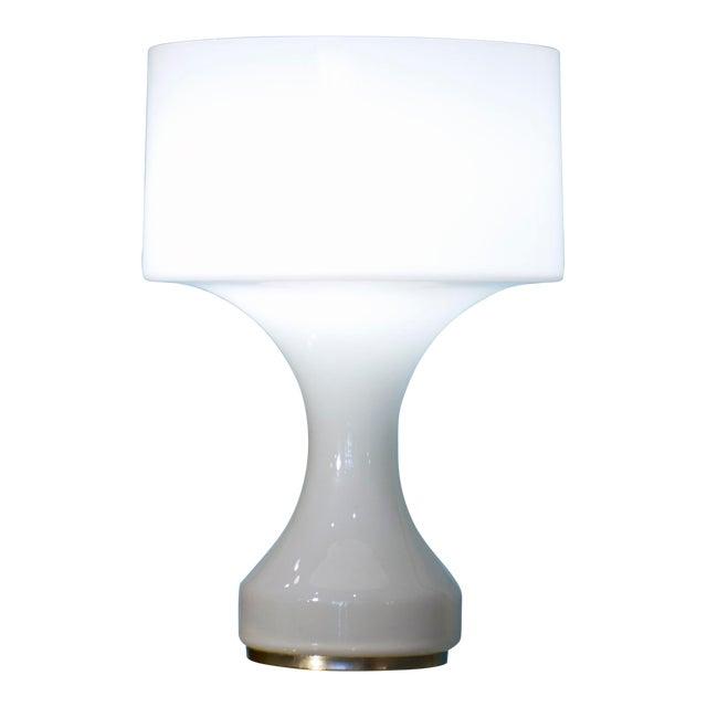 White Opal Crystal Hand Blown Glass Enrico Capuzzo Sebenica Lamp for Vistosi, Circa 1965 For Sale