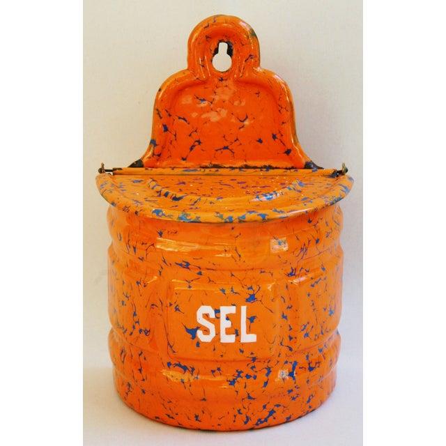 1940s French Marbleized Enameled Sel/Salt Holder - Image 2 of 7