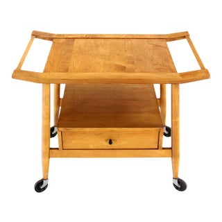 Mid-Century Modern Solid Birch Cart Serving Table For Sale