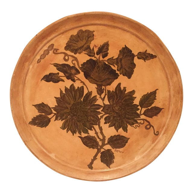 Antique Etched Cream & Gold Tole Tray - Image 1 of 7