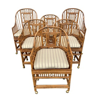 Late 20th Century Vintage Brighton Bamboo Barrel Chairs - Set of 6 For Sale
