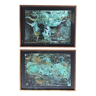 Abstract Framed Copper Artwork - a Pair For Sale
