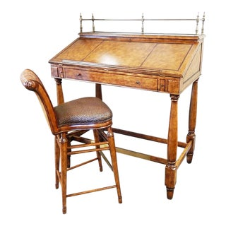 Thomasville Hemingway Leather Top Stand-Up Desk & Stool For Sale