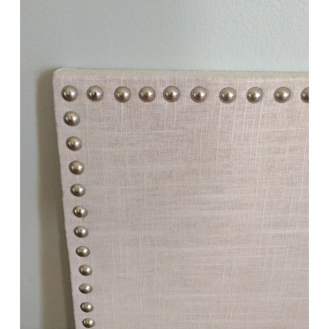 Natural linen pewter heads spaced cork board chairish for Linen cork board