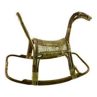 Vintage Franco Albini Mid Century Modern Bamboo Rattan Rocking Horse For Sale