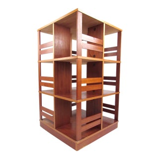 Scandinavian Modern Teak Swivel Bookshelf For Sale