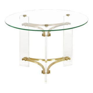 Circa 1980s Charles Hollis Jones Brass, Glass and Lucite Accent Side Table For Sale