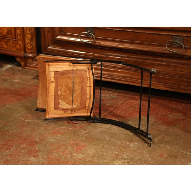 Brown Pair of Mid-20th Century French Iron and Leather Folding Chairs For Sale - Image 8 of 9