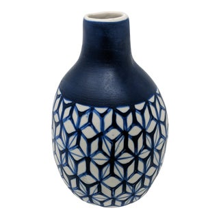 Blue and White Geometric Vase For Sale