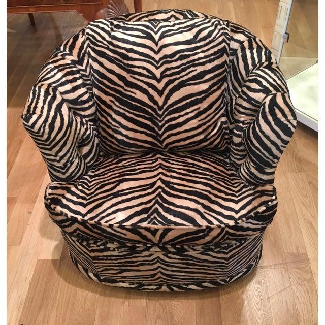 Tufted Zebra Swivel Club Chairs - Pair - Image 7 of 9