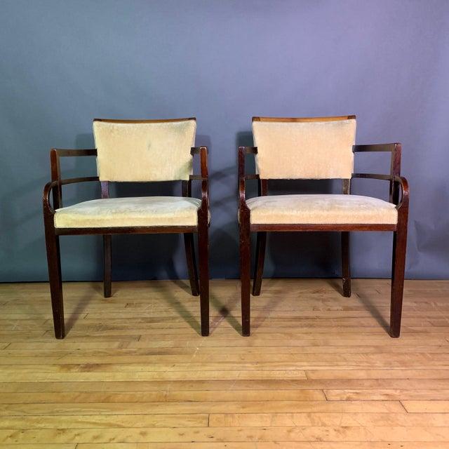 Art Deco Pair 1930s German Art Deco Armchairs, Mahogany & Velvet For Sale - Image 3 of 12