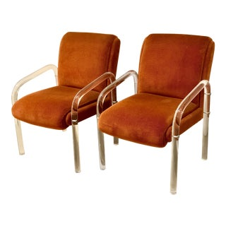 Pair of Lucite Armchairs by Lion in Frost. America, C. 1970s For Sale