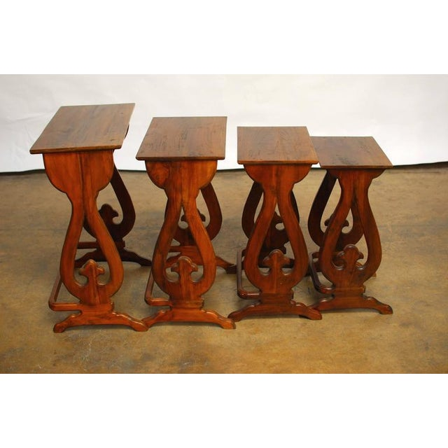 Set of four carved chinese nesting tables chairish