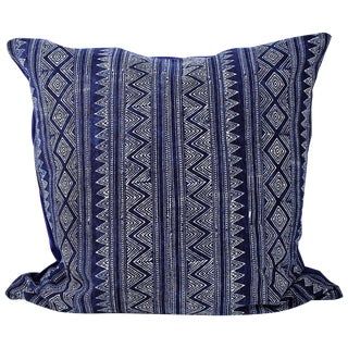 Hmong Zigzag Indigo Batik Handmade Pillow Cover For Sale