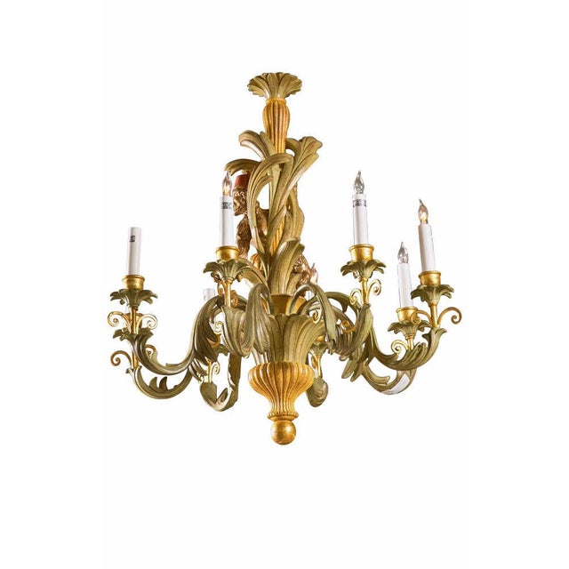 French Wood Foliate Chandelier For Sale