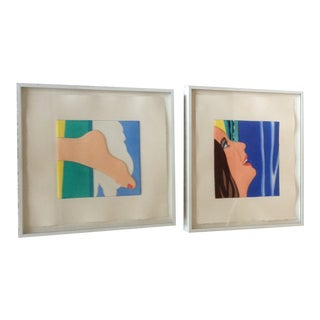 """Foot"" and ""Face"" Original Pop Art Serigraphs, Signed by Tom Wesselmann, Circa 1987 - a Pair For Sale"