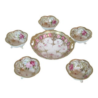 1940s Vintage Hand-Painted Nippon Bowls - Set of 6 For Sale