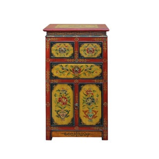Tibetan Oriental Red Black Yellow Orange Floral End Table Nightstand For Sale