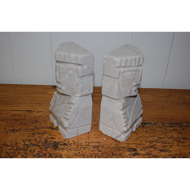 1950s Gray Marble Aztec Bookends - Image 5 of 7