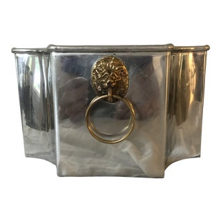 1970s Vintage Metal Planter With Brass Lion Head Handles For Sale