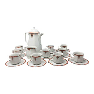 1930s Art Deco White Coffee and Tea Set - Set of 22 For Sale