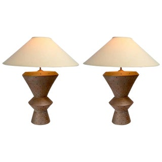 Pair of Architectural Scale Plaster Lamps Marked Bon Art, 1991 For Sale