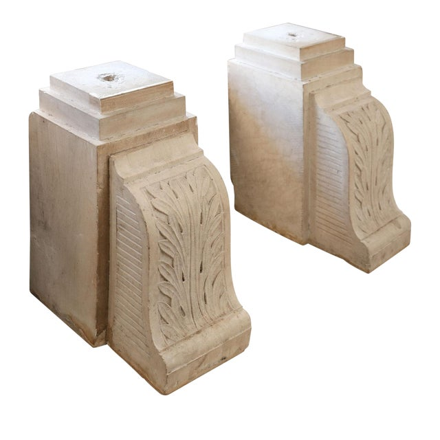 Pair of Chiseled Stone Corbels For Sale