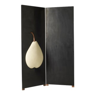 2 Panel Hand Repousse Black Lacquer Screen With Cream Pear by Robert Kuo, Limited Edition For Sale