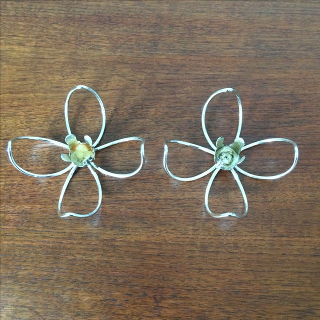 Vintage Metal Flower Candleholders - Pair - Image 2 of 8