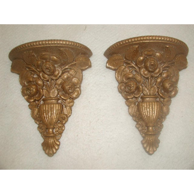 Vintage 1946 Ornate Gilt Molded Brackets - A Pair - Image 2 of 8
