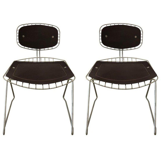 Metal Pair of Beauborg Wire and Leather Stacking Chairs For Sale - Image 7 of 7