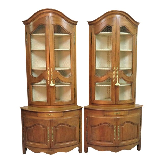 Don Russeau Country French Corner Cabinets A Pair Chairish