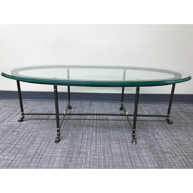 Ebonized Brass & Brass Oval Beveled Glass La Barge Hooved Coffee Table For Sale - Image 11 of 11