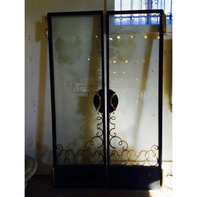 Art Nouveau Art Nouveau Glass Cruise Ship Doors - Pair For Sale - Image 3 of 11