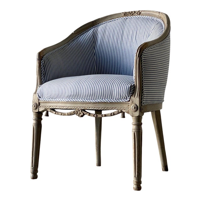 1780 Swedish Neoclassical Painted Tub Chair For Sale
