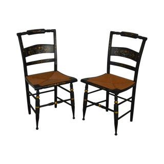 Authentic Hitchcock Nichols & Stone Pair Black and Gold Stenciled Rush Seat Chairs For Sale