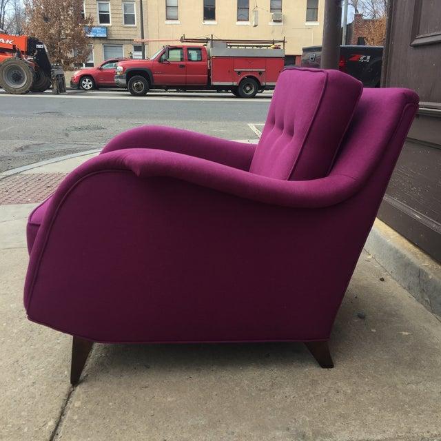 Mid Century Modern Raspberry Linen Armchair - Image 4 of 6