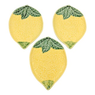 Vintage Bordallo Pinheiro Majolica Lemon Plates - Set of 3 For Sale