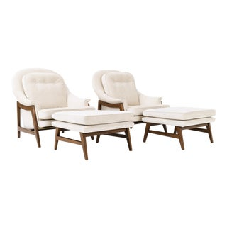Pair of Dunbar Collection Lounge and Ottomans
