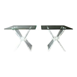 Mid Century Modern Pair of Sculptural Lucite Acrylic Glass Side End Tables 1970s For Sale